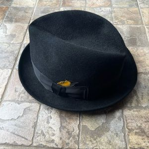 Vintage Adam Hats Premier Black Fur Felt Fedora